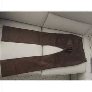 Ralph Lauren brown soft lamb leather pants